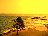 salvador military fortress in the sea shore in the sunset light
