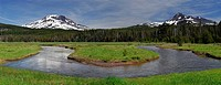 Panorama of Soda Creek at Sparks Lake meadow with South Sister