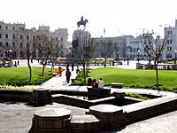 peru lima san martin square park with people resting