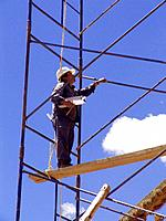 one adult man working in a building construction