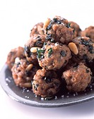 pork, coriander and mint balls