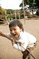 A young boy swinging on a rope in the park