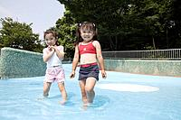 Two girls in pool