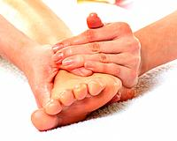 Aesthetician Who Massages Bottom of Woman´s Foot, Close Up