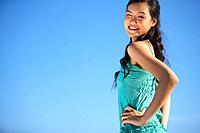 Young Lady Standing, Hands on Hips, Smiling (thumbnail)