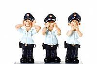 Plastic Figurines of Policemmen, See No Evil, Hear No Evil, Speak No Evil
