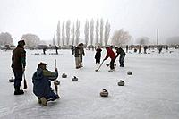 Curling Bonspiel on Frozen Idaburn Dam, Oturehua, Maniototo, Central Otago, South Island, New Zealand