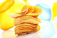 Stacked Potato chips, close_up
