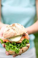Woman holding chicken burger