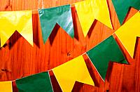 green and yellow flags for sao joao traditional celebrations