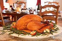 Roast turkey with apples and herbs for Christmas