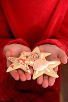Child´s hands holding Christmas biscuit