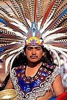 Mexico, Oaxaca State, Aztec indian dancer