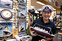 United Kingdom, Northern Ireland Ulster, Belfast, Smyth´s Irish Linens shop on Royal Avenue specialised in Titanic souvenirs built in the Belfast ship...