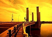 a mobile bridge from porto alegre city in brazil
