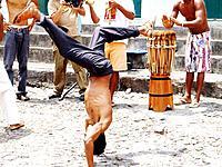 people man playing capoeira game