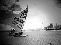 a raft boat sailing with fortaleza tribute sail