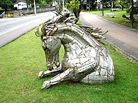 a beautiful horse sculpture at ilha bela coast