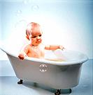young baby taking tub bath
