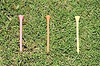 Three Golf Pins on Grass