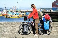 Chile, South America, Ancud city, harbor, harbor, Chiloe island, America, town, Ancud, Boat, fishing boats, coast, sea