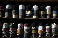 Hats for sale at market, Medina,Fes,Morocco