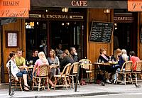 France. Paris. People at brasserie terrace at rue de Turenne