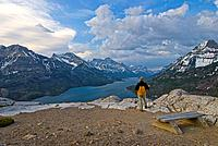 Waterton Lakes National Park, Alberta, Canada, Hiker standing in a national park