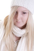 young woman in white winter clothes
