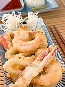 Tempura of Seafood with chili Sauce and Mouli