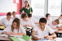 Secondary school students in a classroom