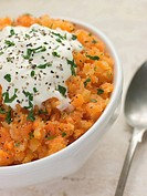 Crushed Swede and Carrot with Sour Cream and Pepper