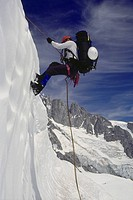 Repelling in the icefall, Waddington Range, BC
