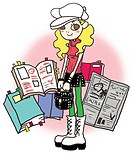 A girl with newspapers and books