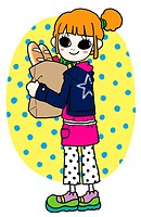 A girl carrying a bag of groceries