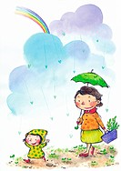 A mother walking with her little child in the rain (thumbnail)