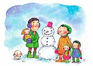A family standing with a snowman in the snow