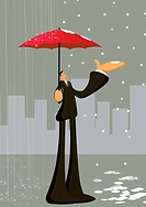 A businessman with umbrella with rain on ones side and snow on the other