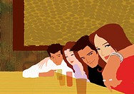 Two young couples in a bar