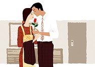 A husband giving his wife a flower (thumbnail)
