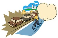A man cycling past a traffic jam