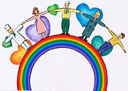 People from various work force holding hands on a rainbow