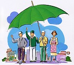 People under a green umbrella