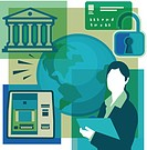 A montage of a bank, a bank card, a lock, a woman holding documents, an ATM, and the globe