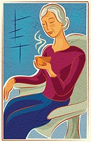 An elderly woman sitting in a chair and enjoying a hot drink