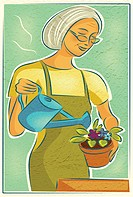 An elderly woman watering her potted flowers (thumbnail)