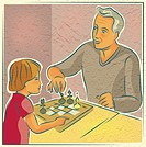 An elderly man playing chess with a young child