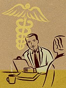 Illustration of two doctors having a discussion and a caduceus sign