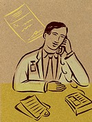Illustration of a pharmacist on the phone, a prescription, and a clipboard