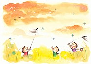 Children catching dragonflies with nets in a field